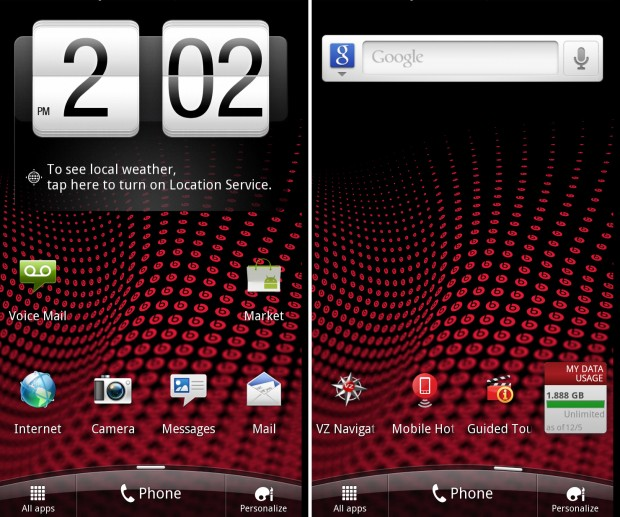 HTC Rezound Home Screens