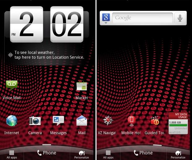 HTC Rezound Home Screens