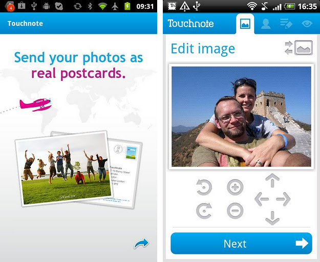 touchnote postcards app for android