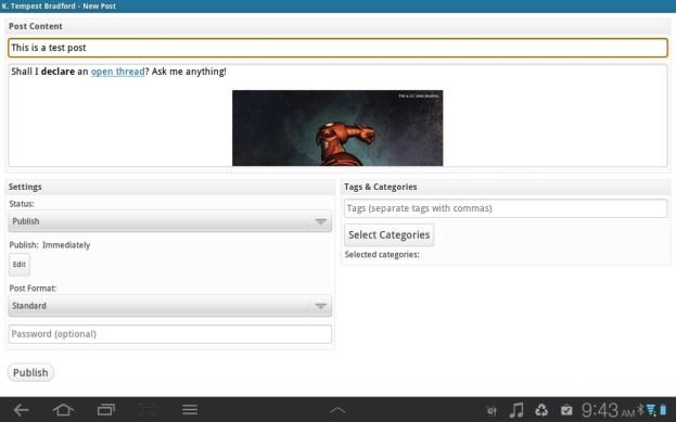 Post Screen - tablets - WordPress 2.0