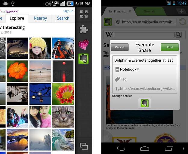 Evernote and Skitch Dolphin Browser add-ons