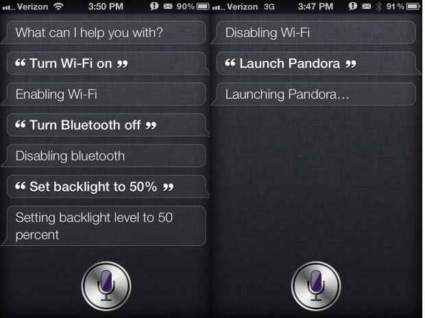 Siri Toggles Settings on iPHone 4S