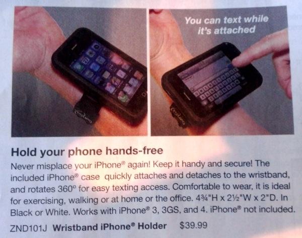 Skymall iPhone WristHolder