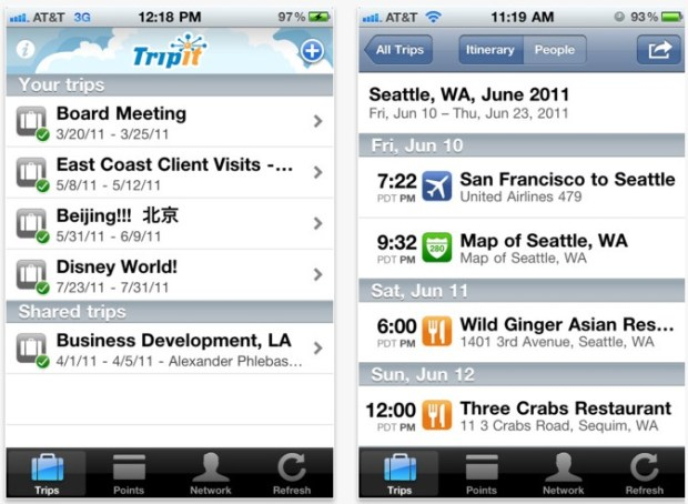 Tripit app for travel