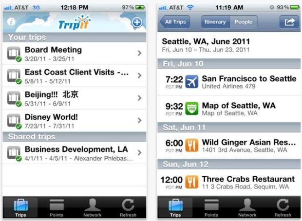 Tripit app for travel