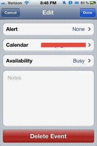 How to delete event on iPhone