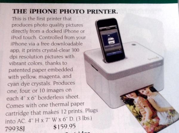 IPHone Photo Printer Skymall