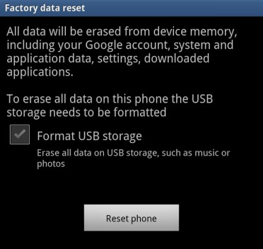 Factory Data Reset Screen on Galaxy Note