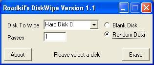 Roadkil Disk Wipe utility for Windows