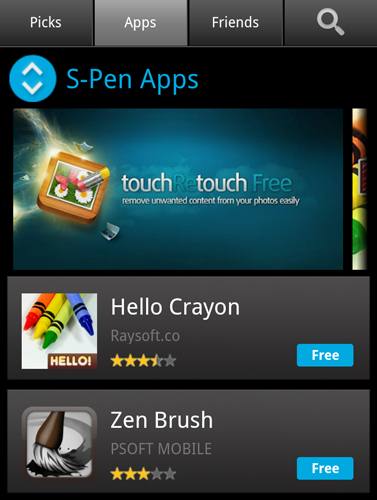 Galaxy Note S Pen Apps in Samsung Apps