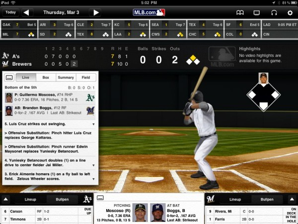 MLB At Bat Pitch Chart Screen
