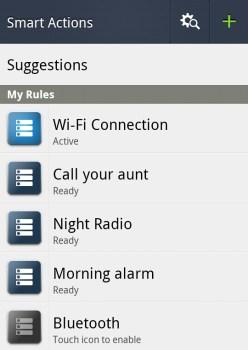 Smart Actions app main screen