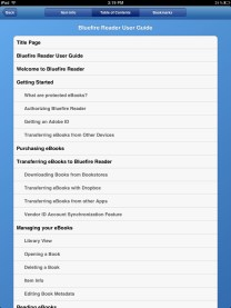 Bluefire Reader - Table of Contents