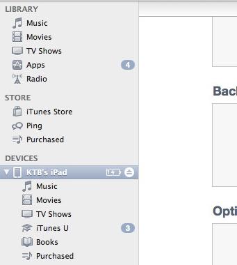 iTunes iPad in the sidebar