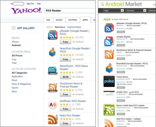 Yahoo App Search and Android Market comparison search RSS Reader
