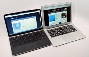 Dell XPS 13 Ultrabook vs. MacBook Air angle
