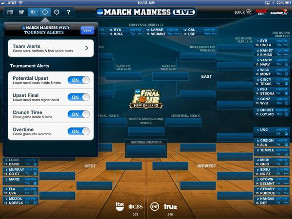 NCAA March Madness App Alerts
