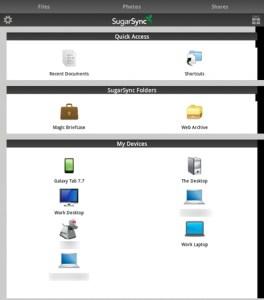 SugarSync Home Screen