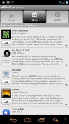 Wimm One Micro App Store