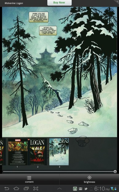 Wolverine: Logan sample showing page scroll at the bottom