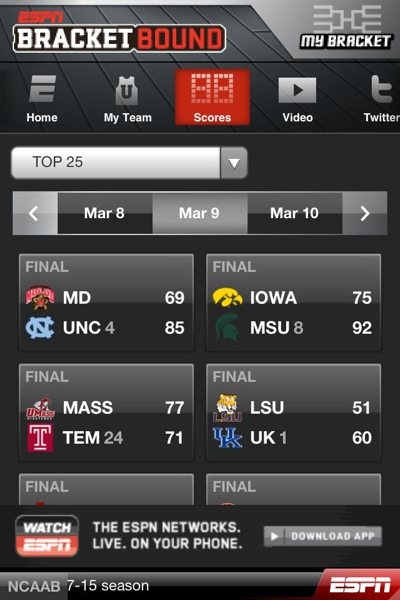 ESPN Bracket Bound App
