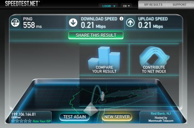 Speedtest.net on a Delta flight with GoGo wireless