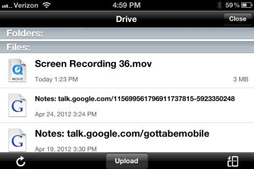 Google Drive iPhone App - downloads