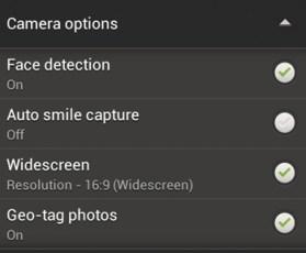 HTC One S Camera App - Camera Options
