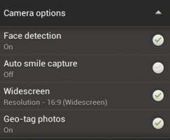 HTC One S Camera App - Camera Options