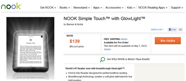 Nook with GlowLight price
