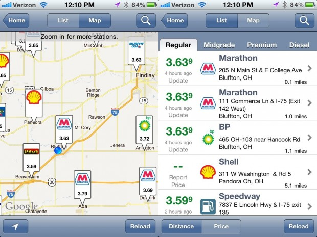 iPhone Gas apps - Gas Buddy map