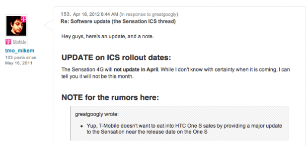 HTC Sensation 4G Android 4.0 Update Not Coming in April