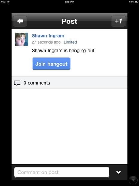 Google Hangout on the iPad