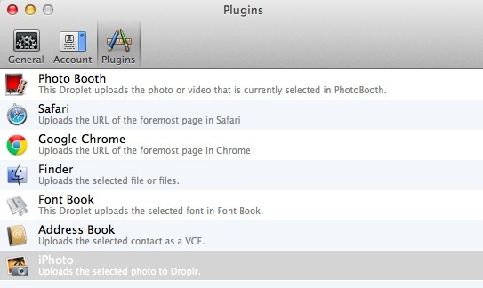 The Droplr list of plugins on my Mac