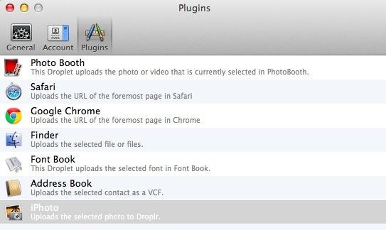 The Droplr list of plugins on my Mac