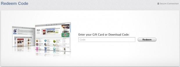 redeem code entry form in mac app store