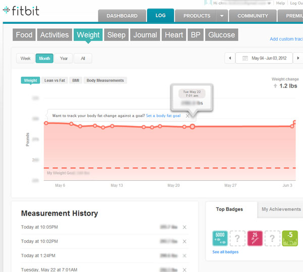 the aria takes the data recorded and transmits them via wifi to the fitbit website to track progress in addition the data sent to the web can be shared