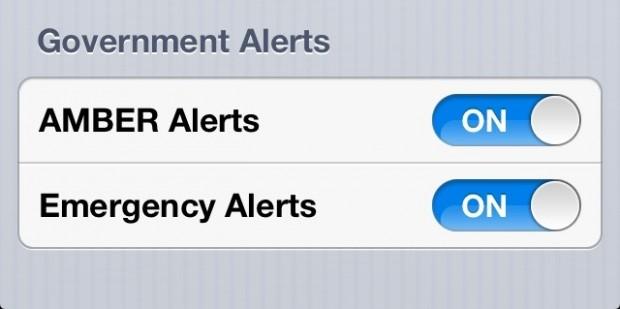 Emergency Alert Toggle iOS 6