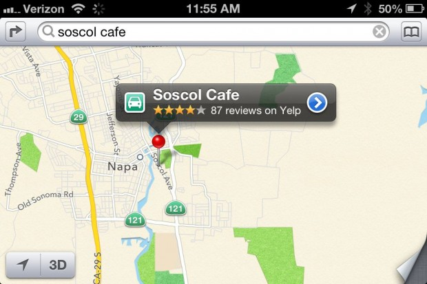 iOS 6 Apple Maps Yelp