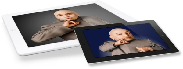iPad Mini mockup with Dr. Evil and Mini-Me