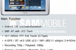 Samsung Galaxy Note 10.1 specs leak