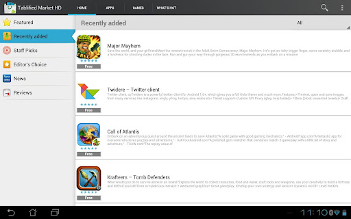 Tablified HD Nexus 7 tablet apps