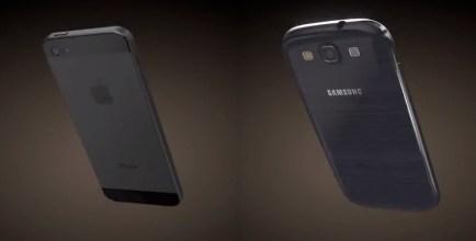 iPhone 5 vs Galaxy S III 3D render backs