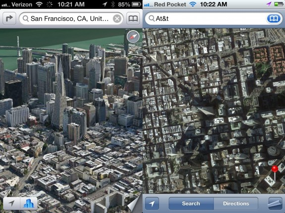 Apple Maps Flyover City Satellite iOS 6 vs iOS 5