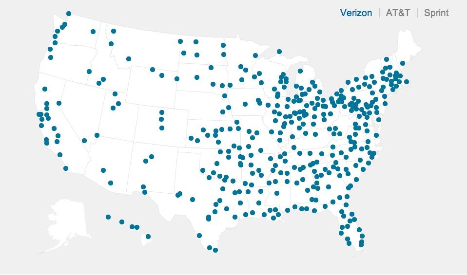iPhone 5: AT&T vs. Verizon vs. Sprint 4G LTE Coverage Maps