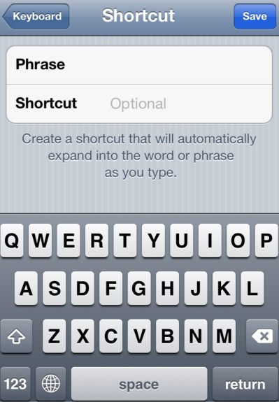Add Keyboard Shotcut iPhone