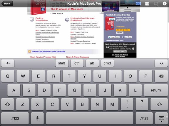 parallels mobile keyboard