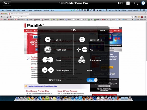 parallels mobile help screen