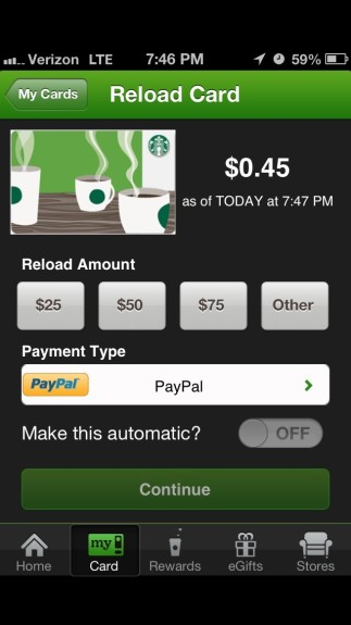 Reload Giftcard from the app