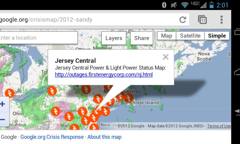 Storm Sandy Crisis Map Puts Power Outage Details Storm Info On Mobile